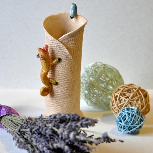 ваза цилиндрической формы пластовым методом